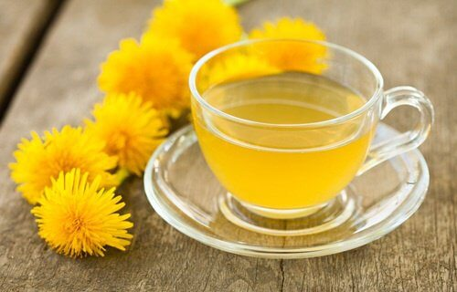Dandelion tea for better health in a glass cup