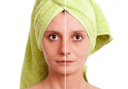A woman before and after using a toner.