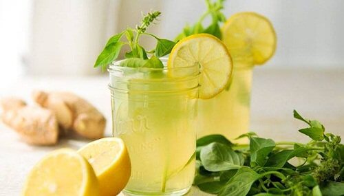 Ginger lemon and mint infusion