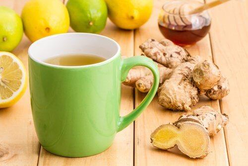 A mug of ginger,cinnamon and honey syrup.