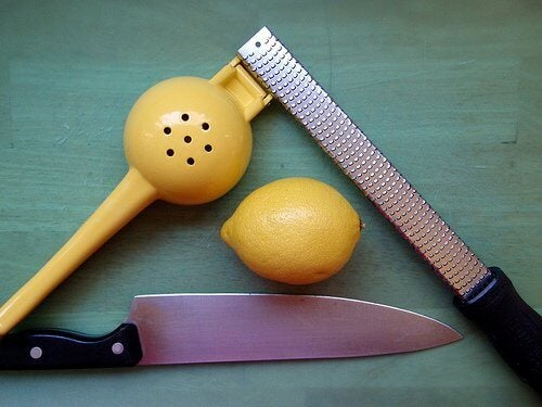 lemon, knife and grater