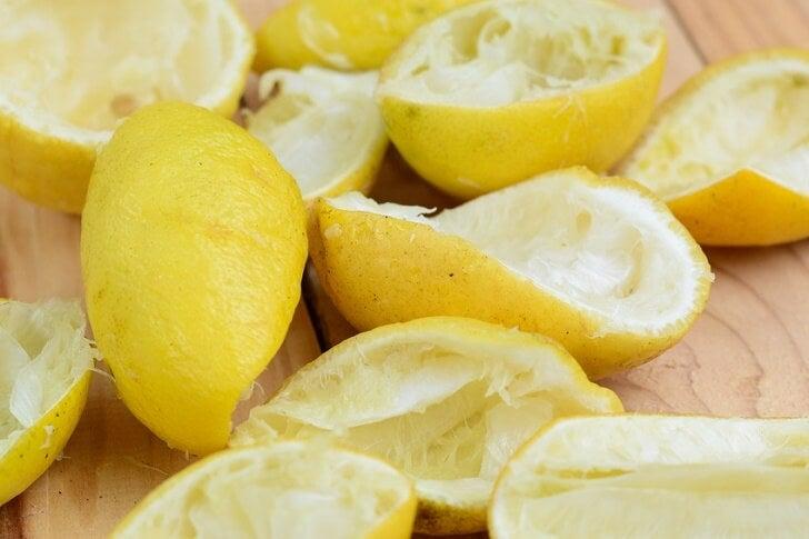 Used lemon peels