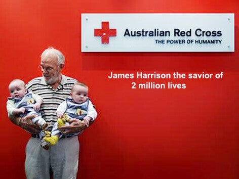 James Harrison the blood donor that saves babies from Rhesus disease.