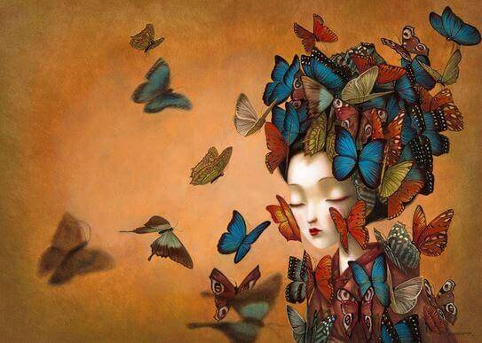Asian woman surrounded by butterflies