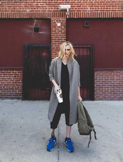 Lauren Wasser black eyeshadow blond woman prosthetic leg amputated