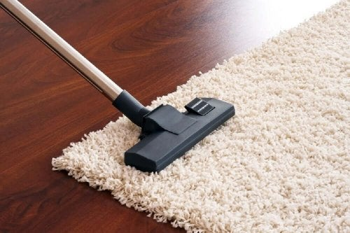 Vacuuming a carpet.