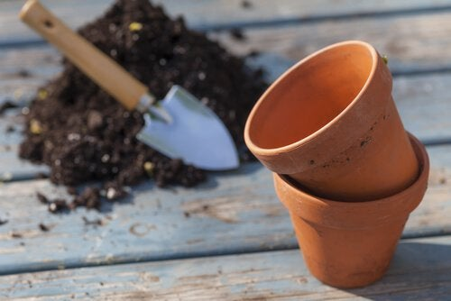 Pots and soil.