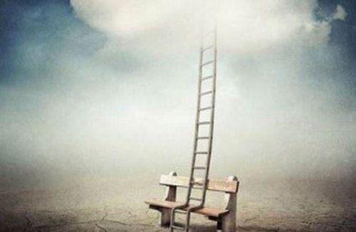 Bench and ladder leading to the heavens before dying