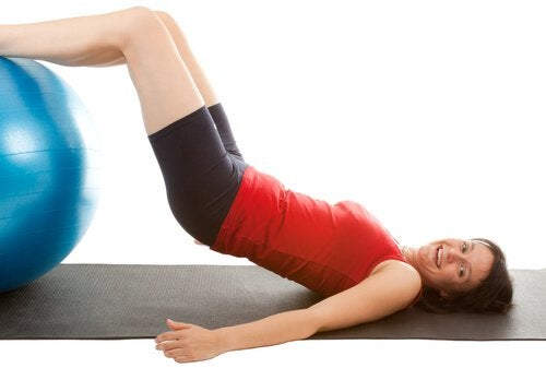 You can improve the appearance of your thighs with leg raises on an exercise ball.