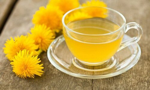 A cup of dandelion tea.