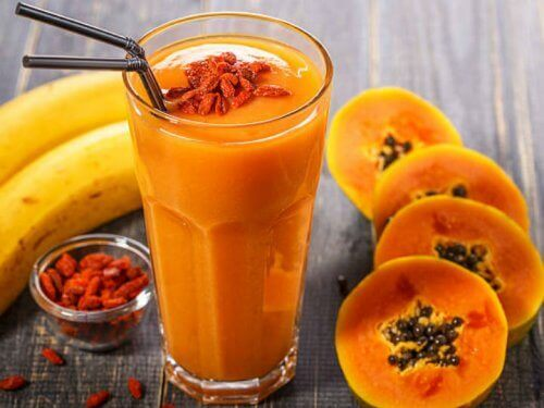 A papaya smoothie.