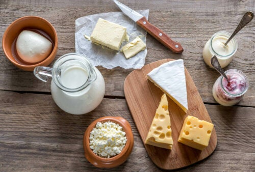 An arrangement of dairy products.