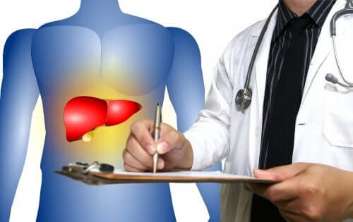 A doctor diagnosing fatty liver.