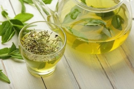 A green tea infusion.