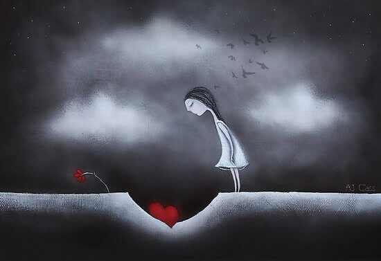 Girl looking at her heart inside a hole