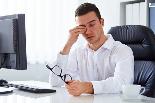 man dealing with eye strain