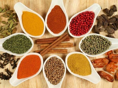 Small dishes of spices