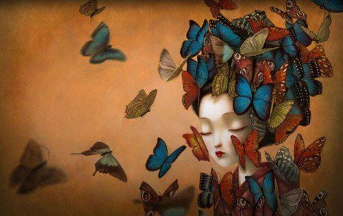 Woman surrounded by butterflies