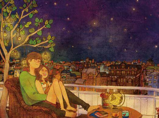 Couple looking at the stars