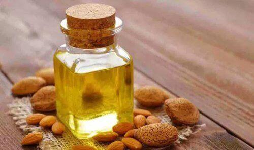 A bottle of almond oil.
