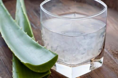 A glass of aloe vera juice.