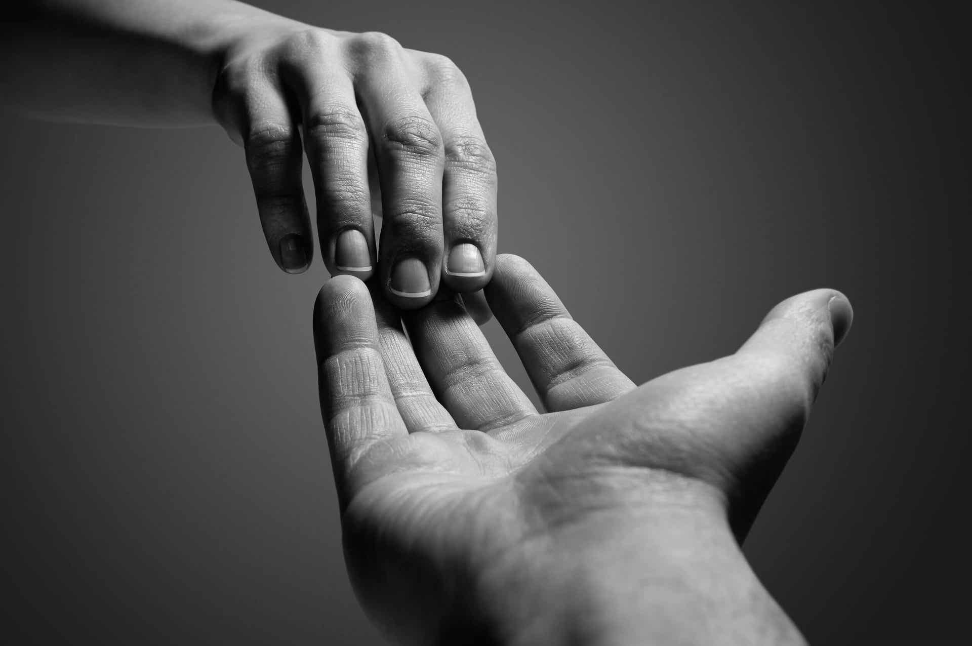 The hands of two different people touching at the fingertips.