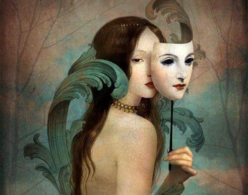 Nainen ja naamio piiloutuminen ihmissuhteilta