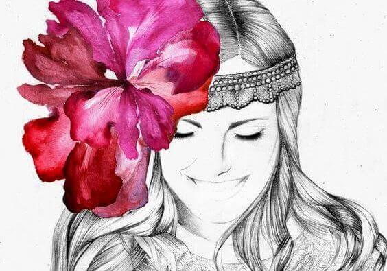 3 flower in hair