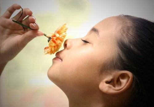 Lasten kasvatus tyttö haistelee kukkaa