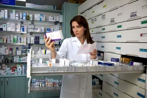 A pharmacist preparing a prescription.