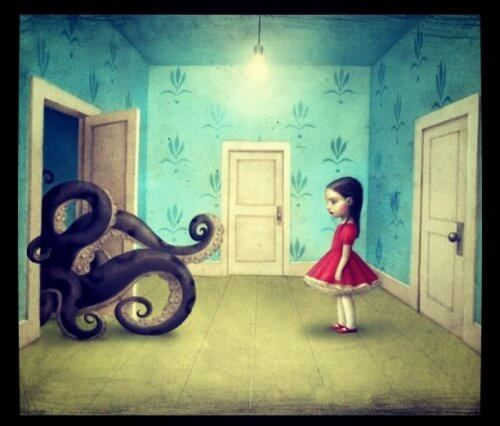 Girl looking at octupus represents bad people