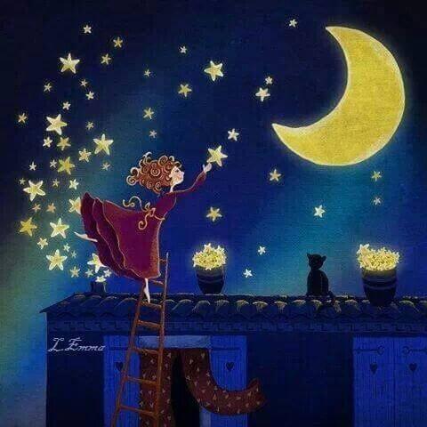 Tyttö poimii tähtiä taivaalta