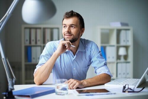 A businessman thinking.