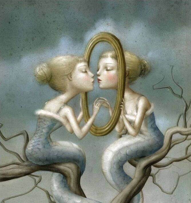 be selfish, girl kissing herself in mirror
