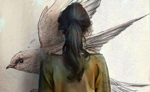 woman painting bird