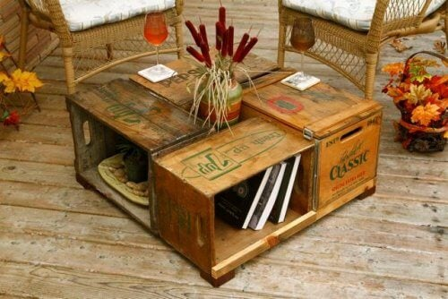 A coffee table made from crates.