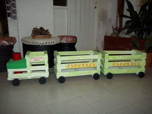 Trains made from crates.