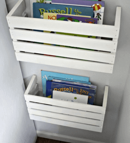 Book boxes made from crates.