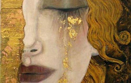A woman with golden tears.