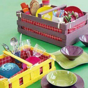 Kitchen organizers made from crates.