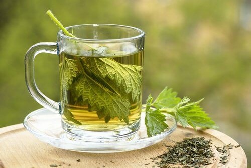 A cup of nettle tea.