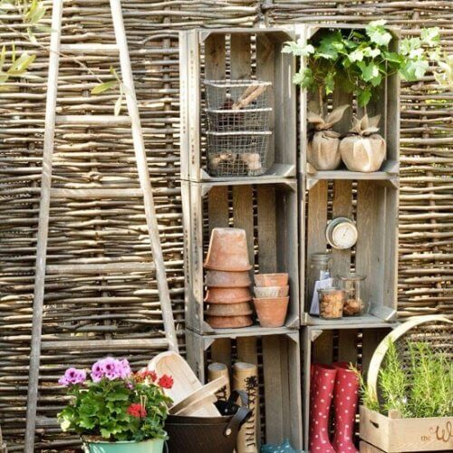 Gardening storage made from crates.