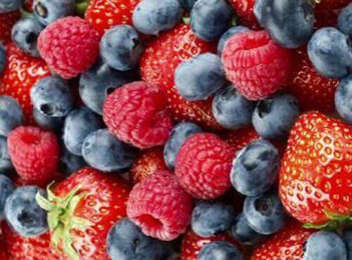 Strawberries, raspberries, and blueberries