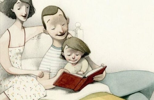 father and mother reading in bed