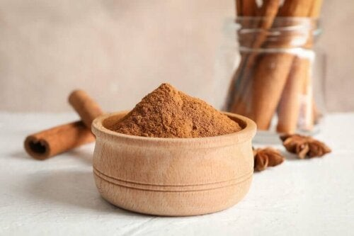A bowl of ground cinnamon.