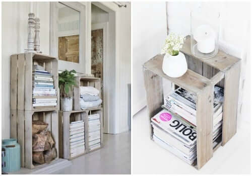 Wooden crates as living room decoration.