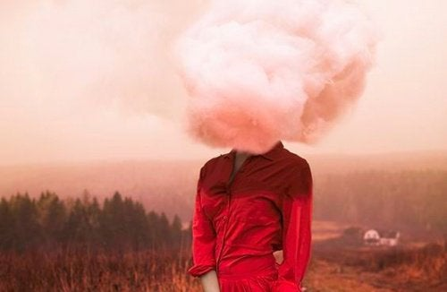 Lady with head in a cloud