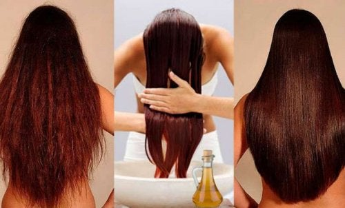 A woman conditioning her hair.