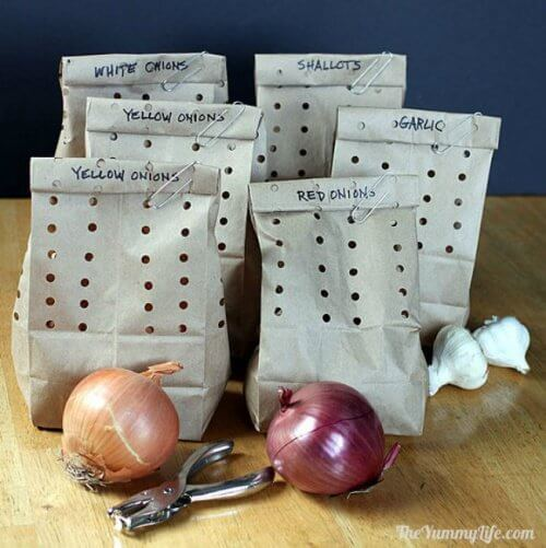 onions, garlic, and paper bags