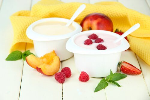 Cups of yogurt with summer fruit